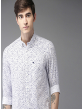 Men White & Blue Slim Fit Printed Casual Shirt by The Bear House