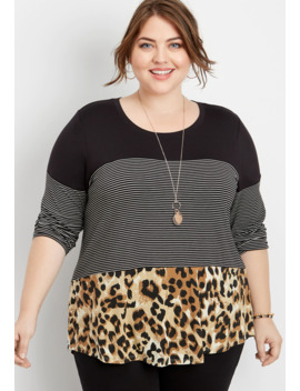 Plus Size 24/7 Animal Print Colorblock Tee by Maurices