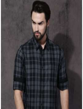 Time Travlr Men Black & Grey Checked Casual Shirt by Roadster