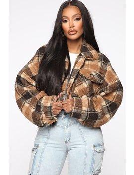 Plaid With Fire Jacket   Brown by Fashion Nova