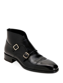 Men's Double Monk Strap Leather Ankle Boots by Tom Ford