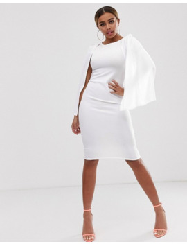 Boohoo Petite Bodycon Midi Dress With Cape Sleeves In White by Boohoo
