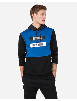 Express New York Color Block Fleece Hoodie by Express