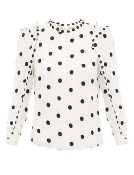 Ruffled Polka Dot Embroidered Silk Blouse by Rebecca Taylor