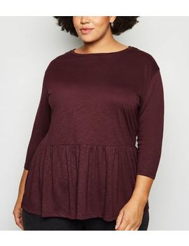 Curves Burgundy Slub Jersey Peplum Top by New Look