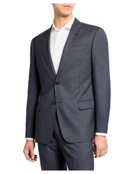 Men's Super 140s Wool Neat Ice Two Piece Suit by Emporio Armani