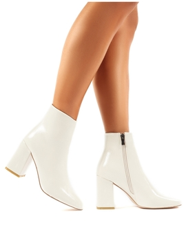 Aimee Cream Crinkle Patent Square Toe Block Heeled Ankle Boots by Public Desire