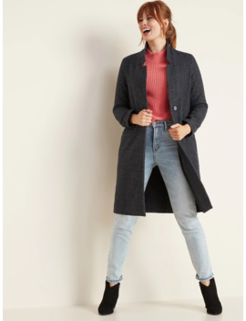 Oversized Soft Brushed Herringbone Long Line Coat For Women by Old Navy