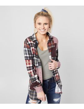 Patch Plaid Knit Shirt by Daytrip