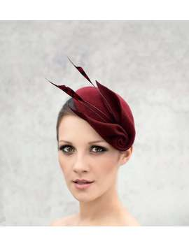 Fascinator Cocktail Hat With Feathers, Sculpted Felt Headpiece, Mini Hat, Ascot Hat   Louisa by Etsy