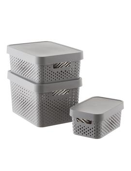 Curver Grey Infinity Plastic Storage Boxes With Lids by Container Store