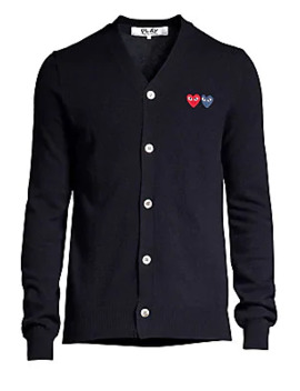 Dual Signature Logo Patch Wool Cardigan by Comme Des Garcons Play