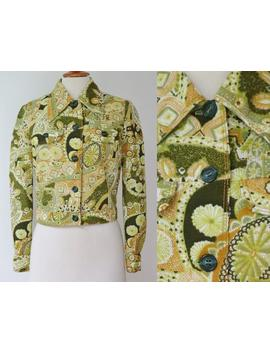White 70s Vintage Top/Jacket With Green/Curry Colored Print // Big Collar/Front Faux Pockets // Hand Made by Etsy