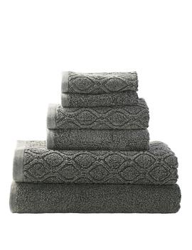 100% Cotton Denim Wash 6 Pc Jacquard And Solid Towel Set (2 Face+2 Hand+2 Bath)  Grey Two Bath Towels 28x54 Each, Two Hand Towels 16x28 Each, Two Face Towels 13x13 Each by Superior
