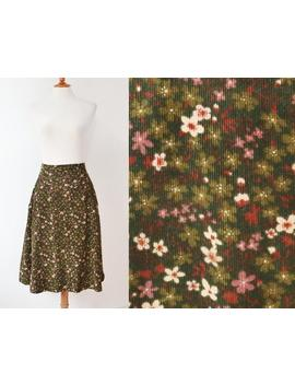 green-70s-vintage-a-line-skirt-with-ivory-&-heather-colored-flowers-__-highwaisted-corduroy-skirt-__-cotton by etsy