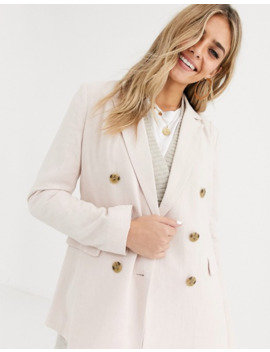 Pimkie Linen Blend Double Breasted Blazer In Nude by Pimkie