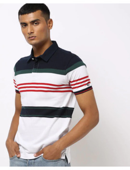 Striped Polo T Shirt With Ribbed Collar by Arrow