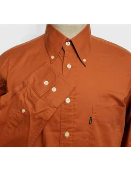 Barbour Mens Dress Shirt Terracotta Orange Cotton Size M by Ebay Seller