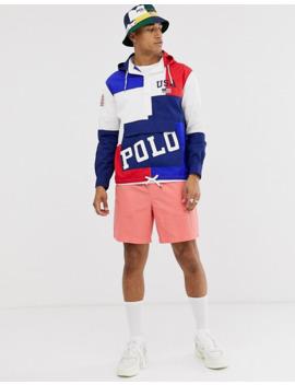 Polo Ralph Lauren – Kapuzenjacke Zum Hineinschlüpfen Mit Logo Und Blockfarben In Rot/Weiß/Blau by Asos