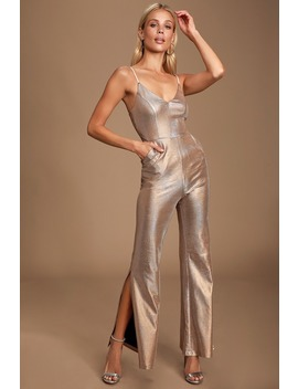 Disco Fever Blush Pink Metallic Jumpsuit by Lulus
