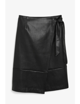 Faux Leather Wrap Skirt by Monki