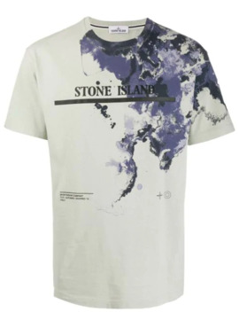 Logo Print Watercolour T Shirt by Stone Island