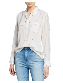 Kate Printed Silk Button Front Top by Rails
