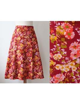 lovely-burgundy-70s-vintage-a-line-skirt-with-floral-print-in-bright-colors-__-highwaisted-corduroy-skirt-__-cotton by etsy
