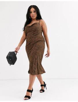 Koco &Amp; K Plus Cowl Neck Midi Dress In Leopard by Koco & K