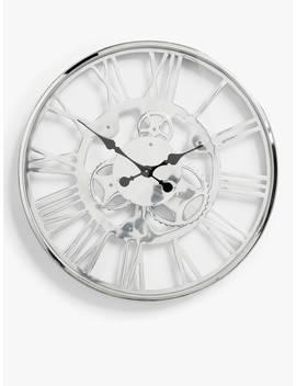 John Lewis & Partners Edgar Large Roman Numeral Skeleton Clock, 60cm, Nickel/Chrome by John Lewis & Partners