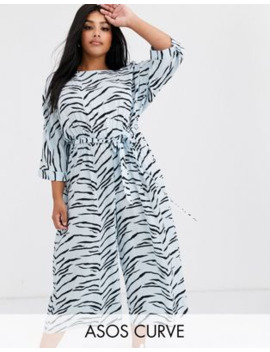 Asos Design Curve Tie Waist Jumpsuit In Tiger Print by Asos Design