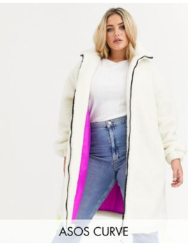 Asos Design Curve Longline Fleece Coat With Neon Trim Detail In Cream by Asos Design
