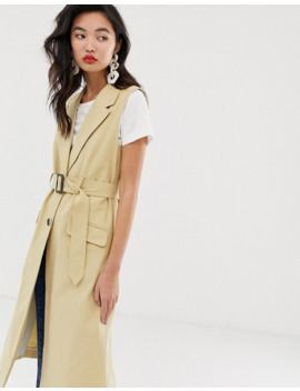 River Island   Mouwloze Trench Met Riem In Camel by River Island