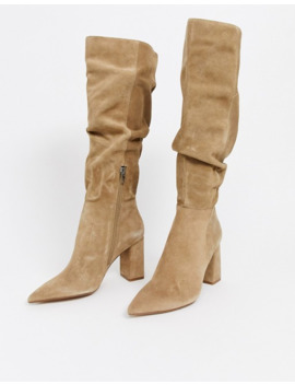 Bershka Faux Suede Slouch Knee High Boots In Sand by Bershka