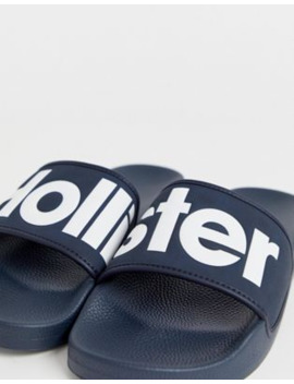 Hollister Large Logo Sliders In Navy by Hollister