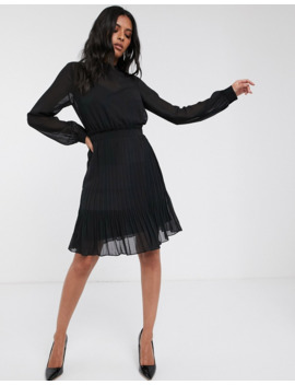 Vila Chiffon Mini Dress With Pleated Skirt In Black by Vila