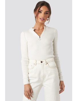 Zip Knitted Sweater White by Na Kd