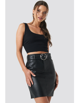 Faux Leather Belted Mini Skirt Black by Na Kd Party