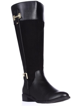 Womens Ks35 Deliee Wide Calf Riding Boots, Black Smooth by Ks35
