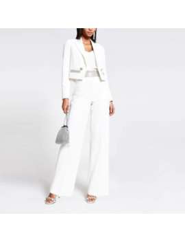 White Diamante High Waist Wide Leg Trousers by River Island