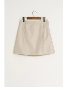 Kiko Leatherette Mini Skirt, Ivory by Olive
