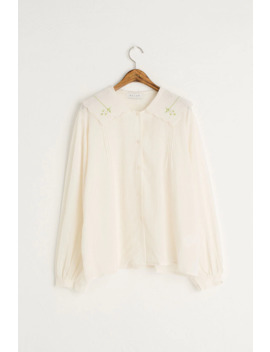 Daisy Embroidered Collar Blouse, Ivory by Olive