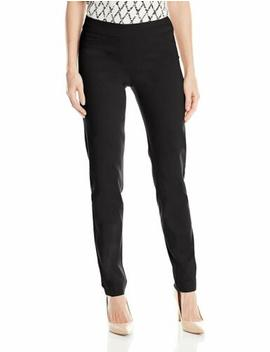 Slim Sation Women's Wide Band Pull On Straight Leg Pant With Tummy Control by Does Not Apply