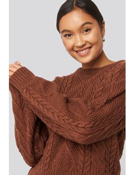 Oil Knitting Detail Sweater Brown by Trendyol