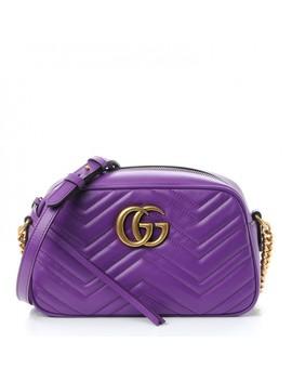 Gucci Calfskin Matelasse Small Gg Marmont Bag Purple by Gucci