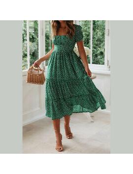 Womens Summer Boho Polka Dot Ruffled Midi Dress Holiday Beach Party Sundress by Ebay Seller