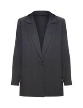 Blazer Noir Tissé Très Oversize by Prettylittlething
