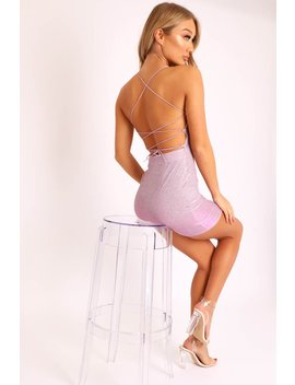 Pink Glitter Lace Up Back Mini Dress   Elita by Rebellious Fashion