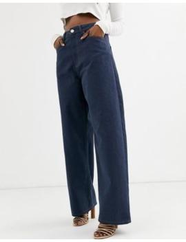 Asos Design – Relaxed Dad Jeans In Verwaschenem Rauchblau Mit Hohem Bund by Asos