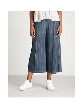Mellow Pleats Wide Leg Cropped Pleated Trousers In Ink Navy by Pleats Please Issey Miyake